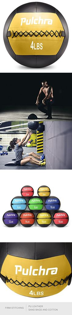 PULCHRA Soft Medicine Ball Leather Medical Slam Weight Wall Ball Fitness Training Workout Exercise for Better Power Balance Arm Leg Waist Muscles Build 2 4 6 8 10 12 14 16 18LB (4LB)