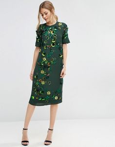 ASOS | ASOS Emerald Embellished Shift Midi Dress