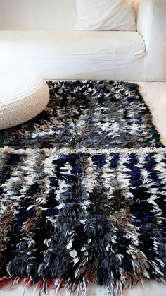 "Vintage Moroccan Rag Rug - BOUCHEROUITE ""gray"""