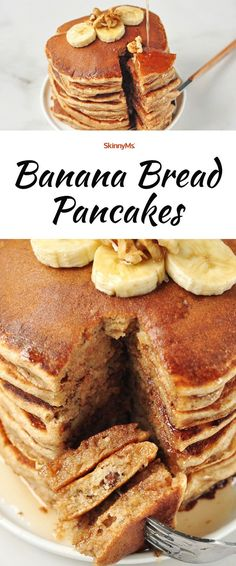 Bring the warmth and sweetness of fresh banana bread to breakfast with these Banana Bread Pancakes! Bring the warmth and sweetness of fresh banana bread to breakfast with these Banana Bread Pancakes! Best Banana Bread, Banana Bread Recipes, Pancake Recipes, Banana Breakfast Recipes, Breakfast Ideas, Breakfast Casserole, Breakfast Pancakes, Morning Breakfast, Savoury Cake