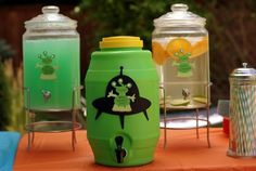 Drink Station Idea: a blue-green drink for the adults and green juice and liquid hydrogen (water with oranges and lime) for the kids.