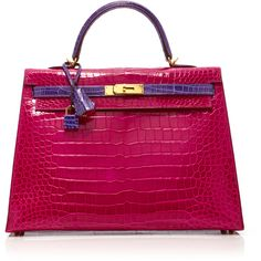 Heritage Auctions Special Collections Hermès 35cm Rose Shocking &... found on Polyvore featuring bags, handbags, pink, rosette handbag, croco embossed handbags, crocodile embossed handbags, rosette purse and croc embossed handbags