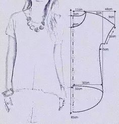"vamos combinar: MOLDE BLUSA MULLET ""Smooth sleeve hi/low tshirt"", ""check out my website for more . Tunic Sewing Patterns, Sewing Blouses, Clothing Patterns, Dress Patterns, T Shirt Patterns, Sewing Stitches, Coat Patterns, Fashion Sewing, Diy Fashion"