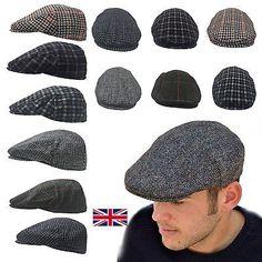 MENS FLAT CAP WOOL GATSBY BAKER BOY NEWSBOY CABBIE COUNTRY HAT TWEED PEAK