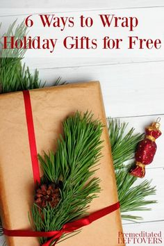 Tired of wrapping paper and bows cutting into your holiday budget? Try these 6 ways to wrap holiday gifts for free instead. DIY Christmas idea. These frugal alternatives to wrapping paper will allow you to wrap your Christmas presents in style without blowing your Christmas budget.