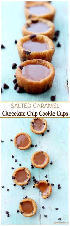 Make these adorable, super easy Chocolate Chip Cookie Cups filled with Salted Caramel for your next Holiday gathering. Okay, I know, I just love cookies, what's wrong with that? Caramel Chocolate Chip Cookies, Salted Caramel Chocolate, Baking Recipes, Cookie Recipes, Dessert Recipes, Holiday Baking, Christmas Baking, Just Desserts, Delicious Desserts