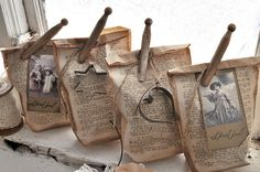 book page bags--these would be wonderful to hold lavender, or heirloom seeds.