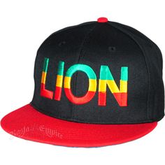 Rasta Lion Black With Red Brim Cap ($24) ❤ liked on Polyvore featuring accessories, hats, lion hat, stripe hat, embroidered hats, red cap and red hat