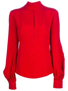 Alexander Mcqueen Slit Detail Blouse in Red Winter Fashion Outfits, Chic Outfits, Red Fashion, Red Blouses, Blouses For Women, Blouse Designs Silk, Blouse Outfit, International Fashion, Blouse Styles