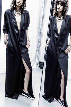 Slides + satin tux dress at Lanvin. Courtesy  - HarpersBAZAAR.com
