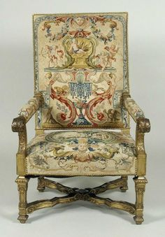 Fauteuil showing grotesque compositions on beige or blue grounds. The Frick Collection.