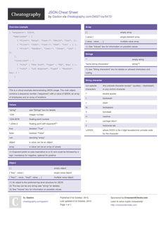 JSON Cheat Sheet by Gaston http://www.cheatography.com/gaston/cheat-sheets/json/ #cheatsheet #