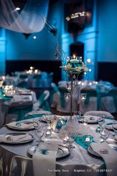 blue and platinum Wedding Table Settings | Bellissimo Platinum Wedding Package - Bella Sera Event Center