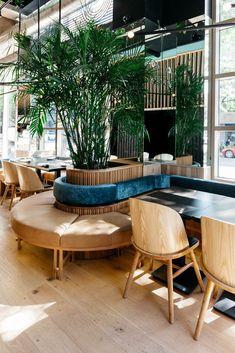 RYÙ Westmount: A Montréal Sushi Bar of Tactile Beauty restaurant interior design - Interior Design Café Design, Bar Interior Design, Design Exterior, Restaurant Interior Design, Commercial Interior Design, Diy Interior, Commercial Interiors, House Design, Design Case