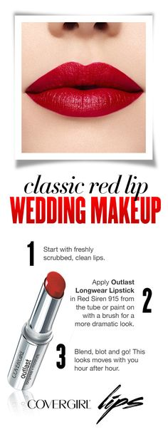 Follow this easy step-by-step guide for classic red lips on your wedding day using Outlast Longwear Lipstick in Red Siren 915! Step 1: Start with freshly scrubbed, clean lips. Step 2: Apply Outlast Longwear Lipstick in Red Siren 915 from the tube or paint on with a brush for a more dramatic look. Step 3: Blend, blot and go! This looks moves with you hour after hour, perfect for a fall or winter wedding.