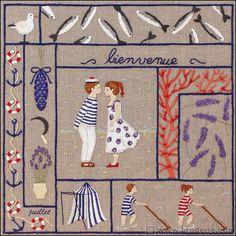 Broderie toile imprimée Juillet création Cécile Vessière Royal Paris 6477.07 - La Maison du Canevas et de la Broderie