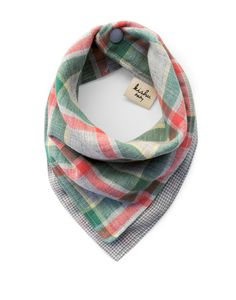 Stylish plaid bandana bib made from premium 100% cotton muslin imported from Japan. Made in USA. Enjoy 2 unique styles in 1 reversible bandana bib! Unisex.