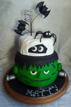 Children's Birthday Cakes - Frankenstein & mummy cake for Operation Sugar