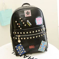 backpack school bag Picture - More Detailed Picture about 2015 Unique  Trendy Style Rivet Badge Women s Leather Backpack Schoolbags School bags  For Girl ... 6dd27c6e4a