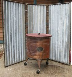 Industrial Upcycled Steam Punk Tin Metal Room Divider Outdoor Shower Enclosure | eBay