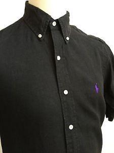 758f98ba8 ... where can i buy ralph lauren mens classic fit shirt black linen size m  medium ebay