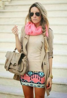 Cute Colorful MIni Skirt with Pink Scarf, Beige Jacket, T-Shirt, Handbag and Accessories