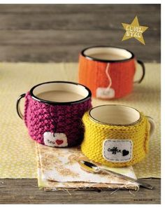 knitted cup cozies