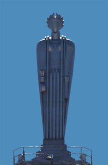 31 foot tall statue of the Roman goddess Ceres by John Storrs sits atop the Chicago Board of Trade.