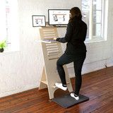 An entirely NEW and innovative type of work-station that allows you to sit at your desk and stand by easily adjusting the shelving to suit. The clever, flat-packed design simply locks together together and can be economically shipped anywhere in South Africa. The A-Stand is made from the very best 18mm Birch Plywood PLUS has reinforced steel flat-bar for additional strength and vertical stability.