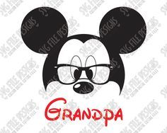 Mickey Mouse Grandpa SVG Cut File Set for Grandparent's Family Disney Shirts in SVG EPS DXF JPEG and PNG for Cricut, Silhouette, and Brother ScanNCut