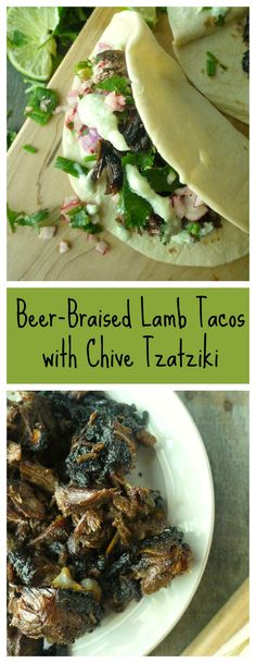These Greek inspired tacos kick some major butt with the caramelized spicy lamb and cool tzatziki combo! #tacos #greekfood