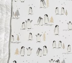 Organic Flannel Winter Penguin Crib Fitted Sheet