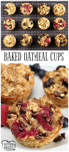 Easy Baked Oatmeal Cups - an easy breakfast recipe with great flavor - check out all the great mix-in options! Butter With a Side of Bread