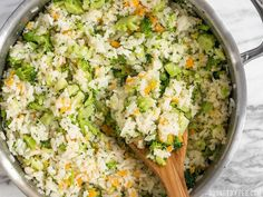 This Easy Cheesy Broccoli Rice is a fast and flavorful side when you don& have time to make a classic Broccoli Cheddar Casserole. Broccoli Cheddar Casserole, Cheesy Broccoli Rice, Vegetable Recipes, Vegetarian Recipes, Veggie Dishes, Potato Recipes, Healthy Recipes, White Rice Recipes, How To Cook Rice