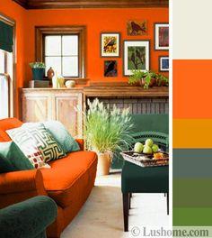 Stylish Orange Color Schemes for Vibrant Fall Decorating – Lushome Burnt Orange Living Room, Orange Rooms, Bedroom Orange, Living Room Green, Green Rooms, New Living Room, Living Room Decor, Living Room Color Schemes, Living Room Designs