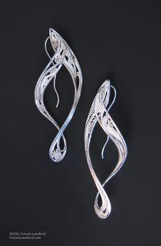 """Nouveau  Russian filigree earringsSterling, fine silver  2-3/4"""" x 7/8"""" x 1/2""""© 2012, V. Lansford; $640."""