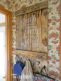 Rustic Hook Board from Denise on a Whim