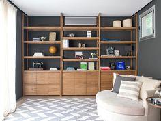 MESOPOTAMIA / Biblioteca CAMARO toda en madera Petiribí Furniture Projects, Wood Furniture, Living Pequeños, Living Room Bookcase, Muebles Living, Hallway Storage, Home Ownership, Home Office Decor, Built Ins