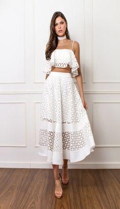 CONJUNTO RENDA BABADO - COJ3404-99   Skazi, Moda feminina, roupa casual, vestidos, saias, mulher moderna