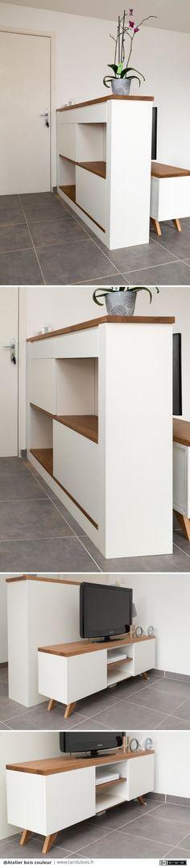 Comptoir et meuble télé par Atelier bois couleur - Cet ensemble a été réalisé sur commande dans le but de créer une entrée dans un appartement qui en était dépourvu. Les impératifs étaient la présence de 2 caissons prévus pour le rangement des chaussures,...