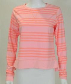 LULULEMON CORAL OCEAN STRIPE WARM UP CREW TOP SZ.6-NEW WITHOUT TAG