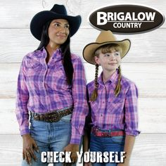 Check yourself when you deck yourself out. Brand new Ladies & Girls check shirts! Bright bold colours, snap closures, western cut & Free Shipping Australia Wide! Ladies Western Shirts, Ladies Shirts, Pink Check Shirt, Country Outfits, Work Shirts, Western Wear, Double Breasted, Down Shirt, Long Sleeve Shirts