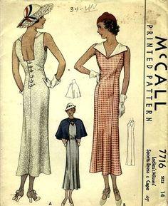 McCall 7716 | ca. 1934 Ladies' & Misses' Sports Dress & Cape