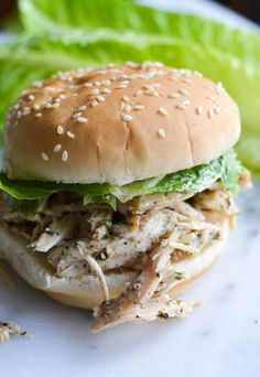Make a big batch of this slow cooker chicken and bring it along to your next picnic! You can easily dish it out on hamburger buns and top with lettuce. Get the recipe at Rachel Schultz. RELATED: 63 Recipes That Will Make Your Next Picnic the Best Ever - Delish.com