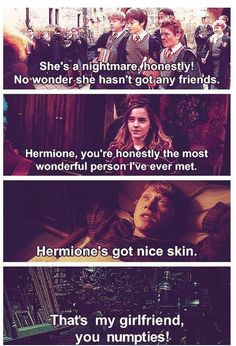 The progression of Ron's assessment of Hermione.