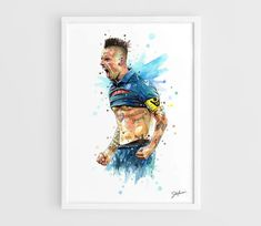Marek Hamsik (Napoli) A3 Wall Art Print Poster of the Original Watercolor Painting Football Poster by NazarArt