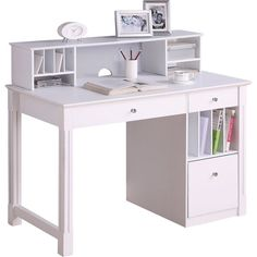 Walker Edison - 48 Wood Home Office Storage Computer Desk with Hutch - White - Front_Standard Home Office Computer Desk, Computer Desk With Hutch, Home Office Storage, Desk Hutch, Home Office Furniture, Furniture Ads, Furniture Websites, Urban Furniture, White Furniture