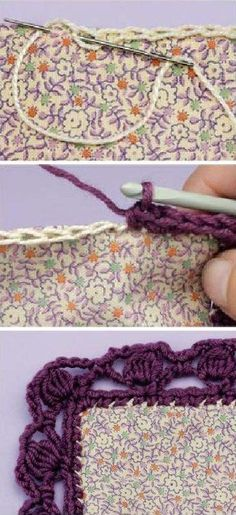 """Crochet Borders ChainStitch for Crochet Edging """"Encyclopedie around the corner crocher borders eckman edie"""" - Crochet Edging Patterns, Crochet Lace Edging, Crochet Fabric, Crochet Quilt, Crochet Borders, Love Crochet, Diy Crochet, Crochet Crafts, Crochet Stitches"""