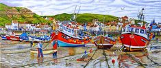Staithes Harbour At Low Tide Oil Painting of Staithes in North Yorkshire When The Tide Is Low With Fishing Boats By The Artist Roger Turner West Midlands, Fishing Villages, North Yorkshire, Best Artist, Fishing Boats, East Coast, Vintage Posters, Jigsaw Puzzles, Around The Worlds