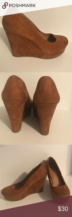 Tan Suede Wedges, XL 10 Perfect heels for beginners.  Very easy and comfortable to walk in. Mint Condition.  Make an offer! Rue 21 Shoes Wedges